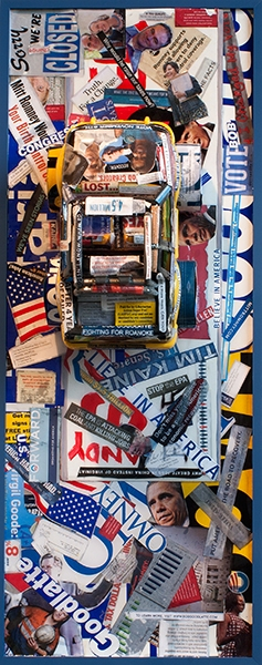 ASSEMBLAGE Election 2012 / Mixed Media Assemblage / 42.25 x 16.25 inches / Signed, dated, and inscribed on verso:  Election / John Wilson © 2012
