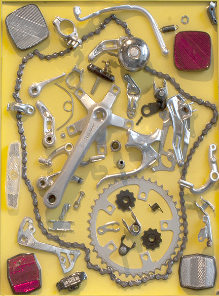 ASSEMBLAGE Yellow Bike Gear / Mixed Media Assemblage / 20.5 x 16.25 inches / SOLD / Signed, dated, and inscribed on verso:  Yellow Bike Gear  / Artist: John Wilson © 2012