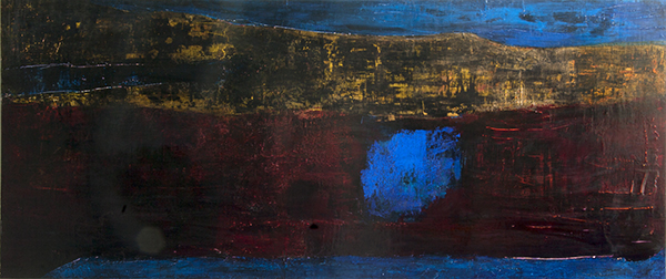 PAINTING Blue Belle / Acrylic on Panel / 30 x 70 inches /  Suzun Hughes