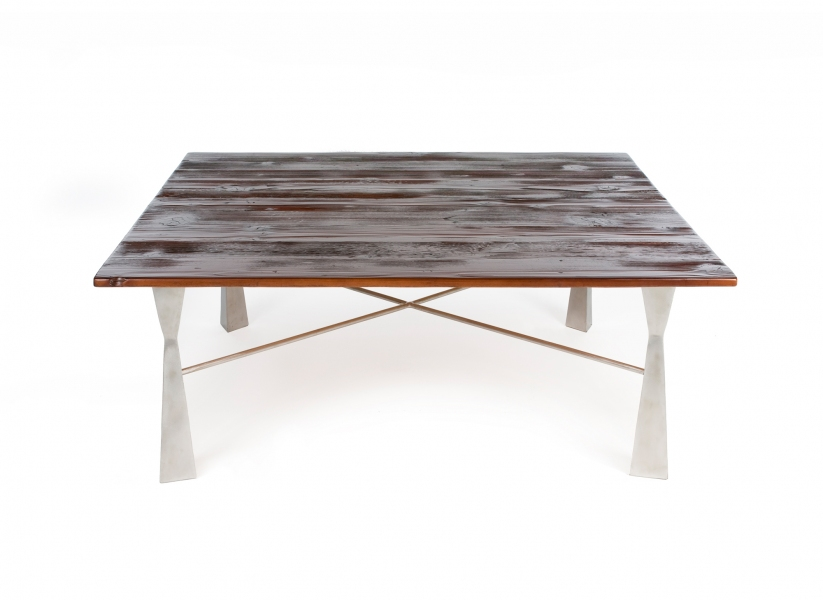 FURNITURE Large Square Coffee Table / Douglas fir with stainless steel base / 18 x 48 x 48 inches /John Wilson & Tom Dorthy