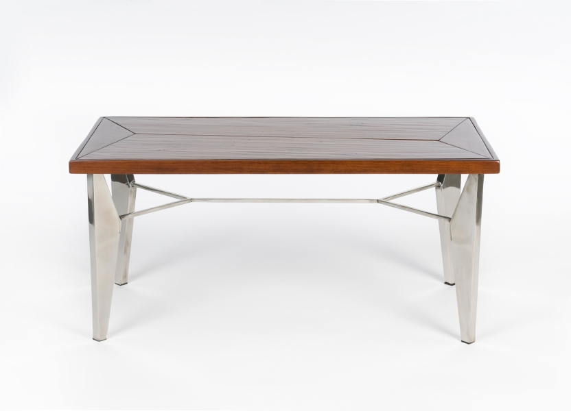 FURNITURE Small Coffee Table / Heart Pine and Stainless Steel / 17x 19 x 37 inches /