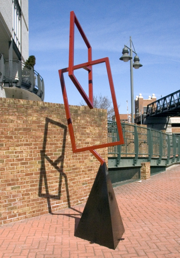 SCULPTURE Subtext / Welded Painted Steel Sculpture / 12 H x 3 W x 5D feet / SOLD / John Wilson copyright 2011
