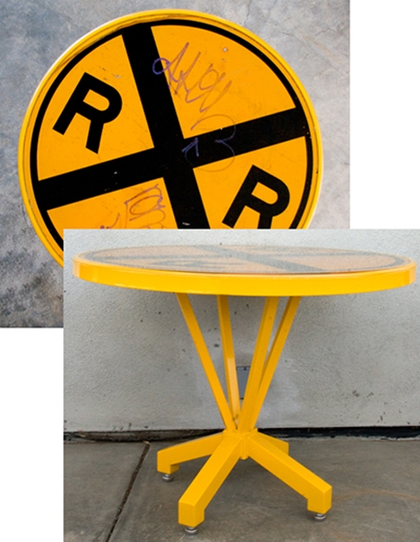 FURNITURE RailRoad Breakfast Table / Powder Coated Steel Base with Epoxy Resin over Found Object / 29 H x 37 W x 37 L inches / John Wilson / NFS