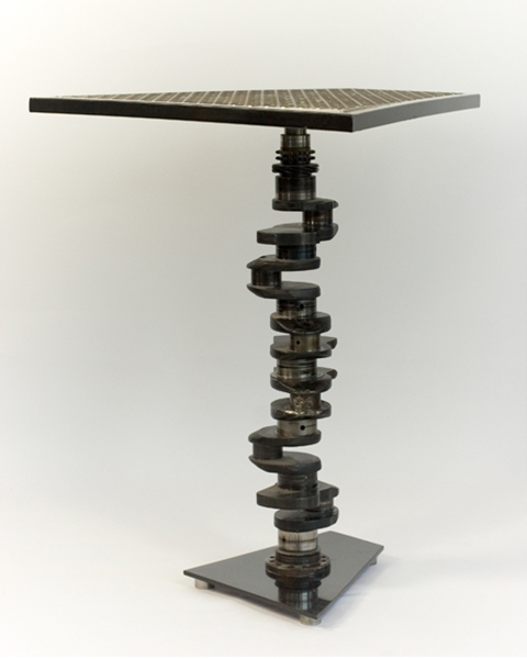 FURNITURE Crankshaft Table / Painted Steel and Aluminum with Found Object / 34 H x 32 W x 29 L inches / John Wilson