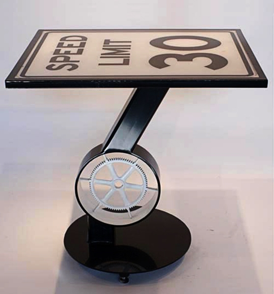FURNITURE Speed Limit Sculpture Table / Painted Steel Sculpture and Found Object Sign / 32 x 28 x 32 inches / John Wilson