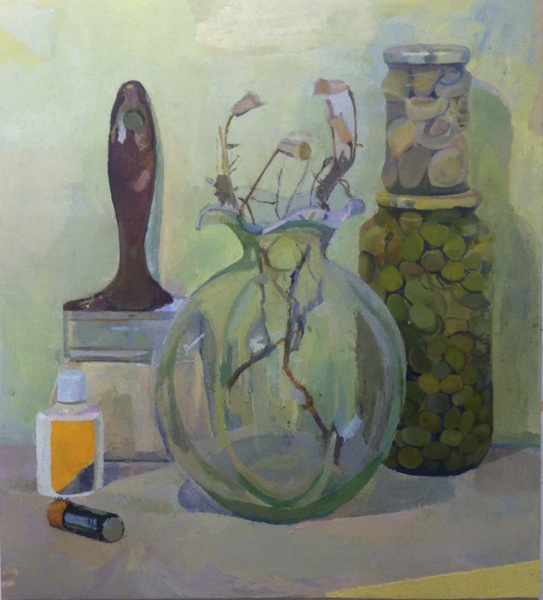 Paintings Flowers, Jars, Paintbrush