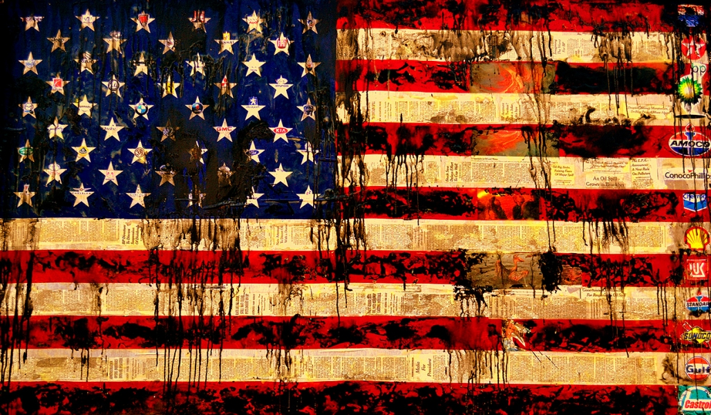 PAINTINGS-LARGE OILED FLAG
