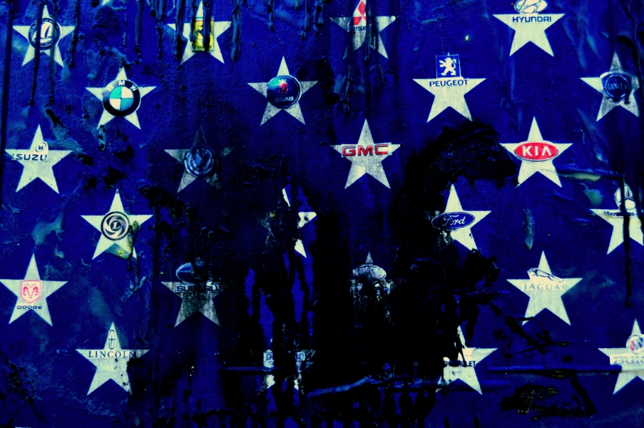 PAINTINGS-LARGE OILED FLAG, detail