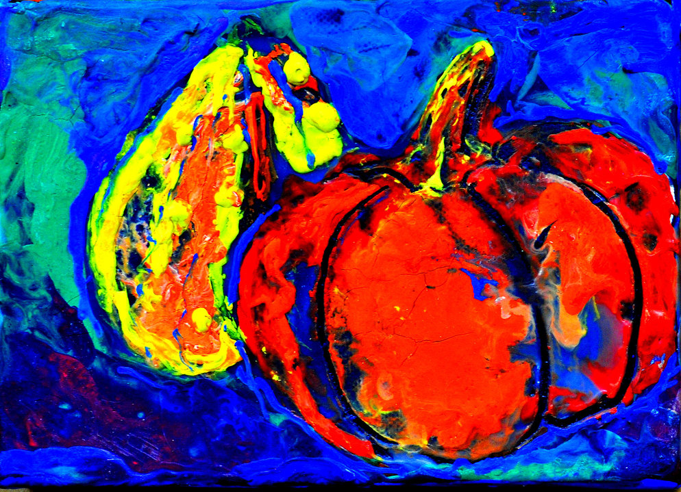 SMALL PAINTINGS  TWO MINI PUMPKINS WITH BLUE