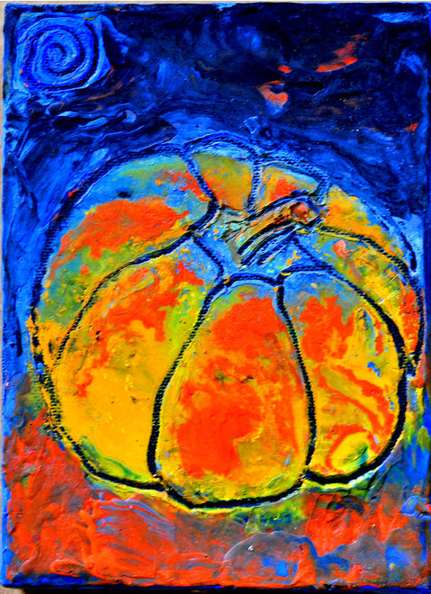 SMALL PAINTINGS VERTICAL MINI PUMPKIN