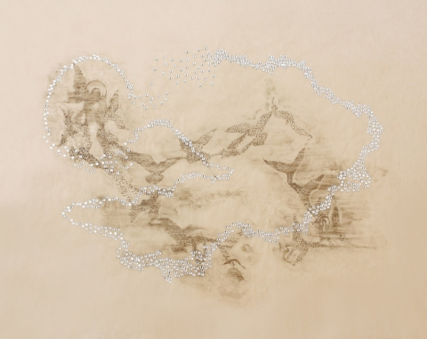 marie yoho dorsey Works on Paper direct gravure and swarovski crystals on Japanese gampi