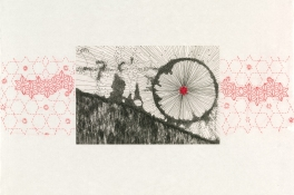Marie Yoho Dorsey Works on Paper Etching and hand embroidery on Japanese goyu