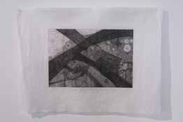 Marie Yoho Dorsey Works on Paper Etching and Hand Embroidery on Gampi paper