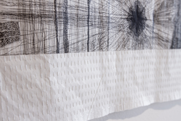 Marie Yoho Dorsey Works on Paper Etching and Hand-embroidery on Gampi paper