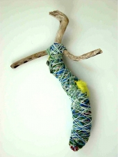 Abby DuBow Sculptures Driftwood, yarn, fabric and feathers