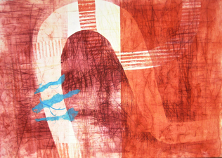 Abby DuBow Reds Monoprint/Chine Colle