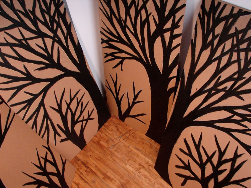 Murals, fabrics, repeating designs Trees Black