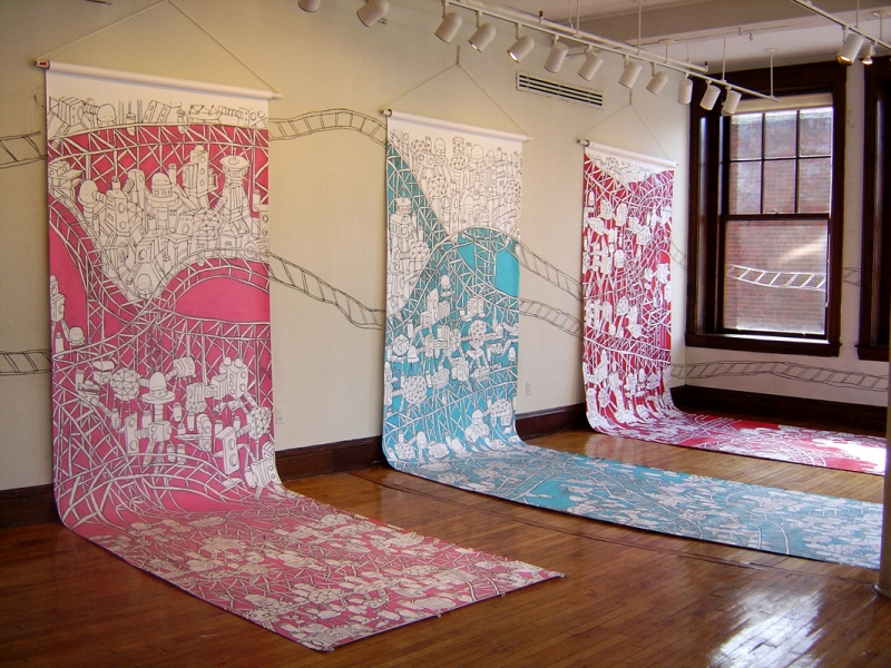 Murals, fabrics, repeating designs Space drawings