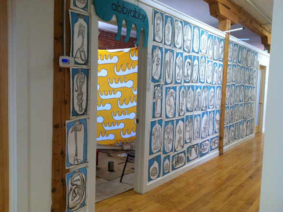 Murals, fabrics, repeating designs Bottle Drawings (Yellow Beast Fabric in background)