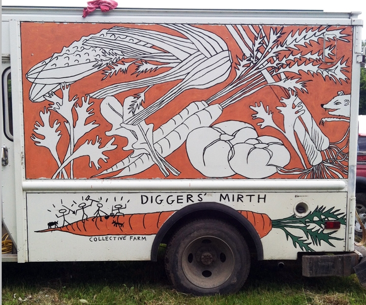 Murals, fabrics, repeating designs Diggers Mirth Collective Farm Delivery Truck, left side orange
