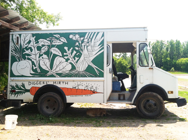Murals, fabrics, repeating designs Diggers Mirth Collective Farm Delivery Truck, right side green