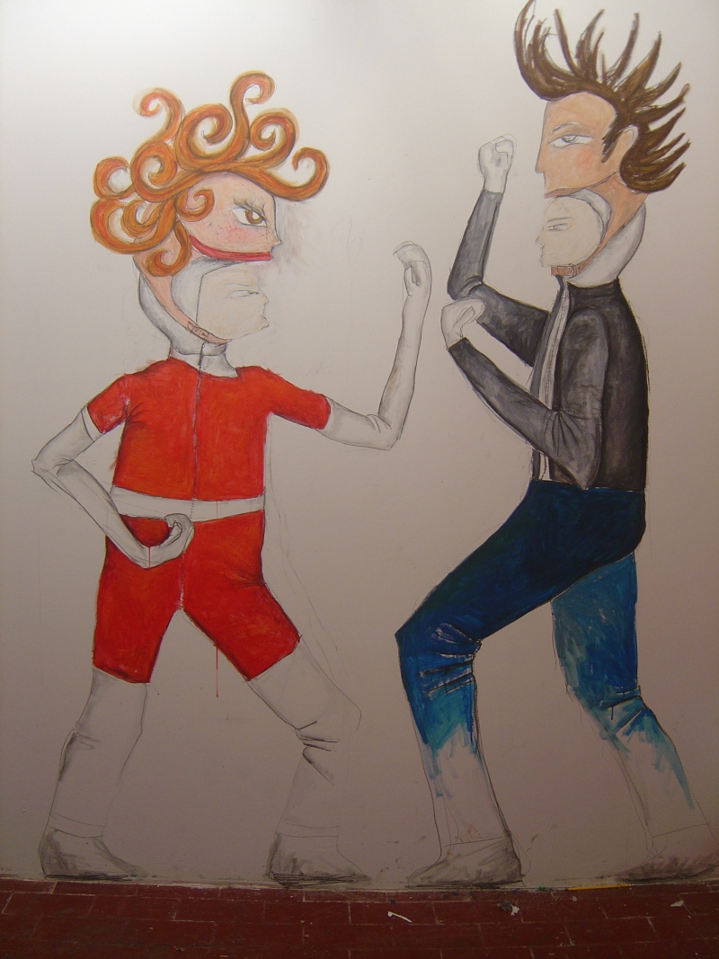 Annie Vs. Grease Soundtrack War AvG costume mock-up mural