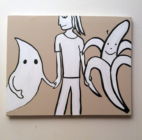 Jabby Walleyes - Paintings in collaboration with James Bellizia Ghost Banana Hands