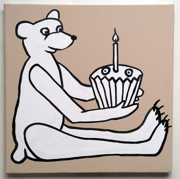Jabby Walleyes - Paintings in collaboration with James Bellizia Bear with a Cupcake