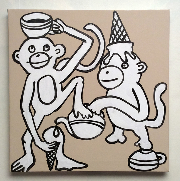 Jabby Walleyes - Paintings in collaboration with James Bellizia Monkey Tea Party