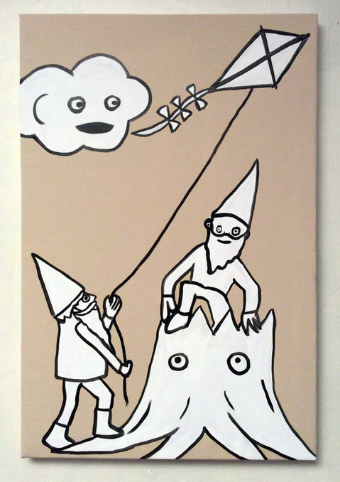 Jabby Walleyes - Paintings in collaboration with James Bellizia Stump Gnomes Fly a Kite