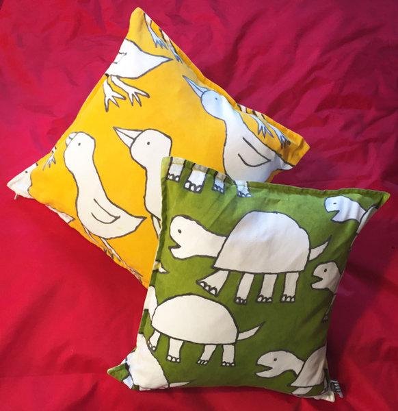 Murals, fabrics, repeating designs duck turtle pillow