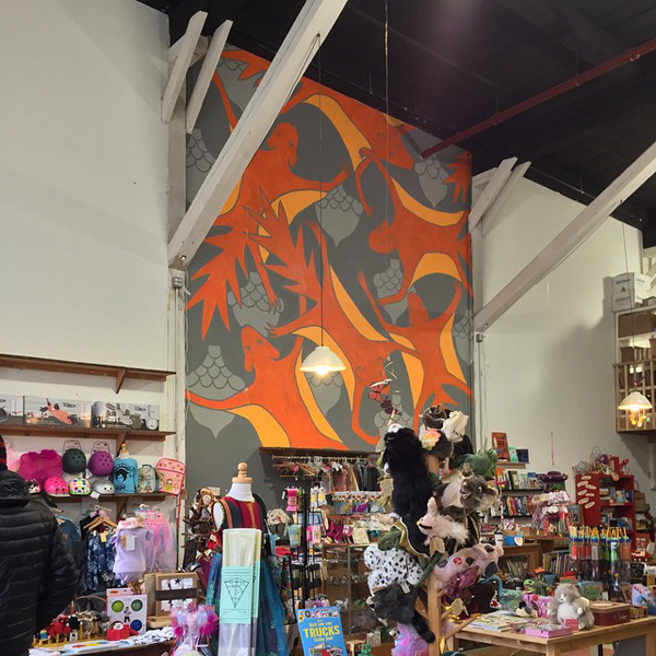 Murals, fabrics, repeating designs Flying Squirrel Mural