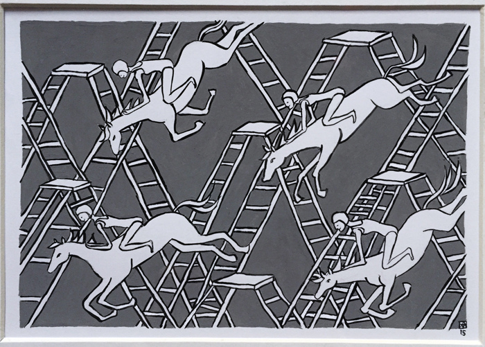 Murals, fabrics, repeating designs diving horse 1