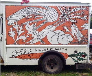 Diggers Mirth Collective Farm Delivery Truck, left side orange
