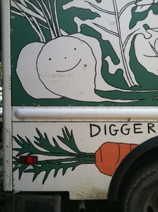 Diggers Mirth Collective Farm Delivery Truck, right side green, detail