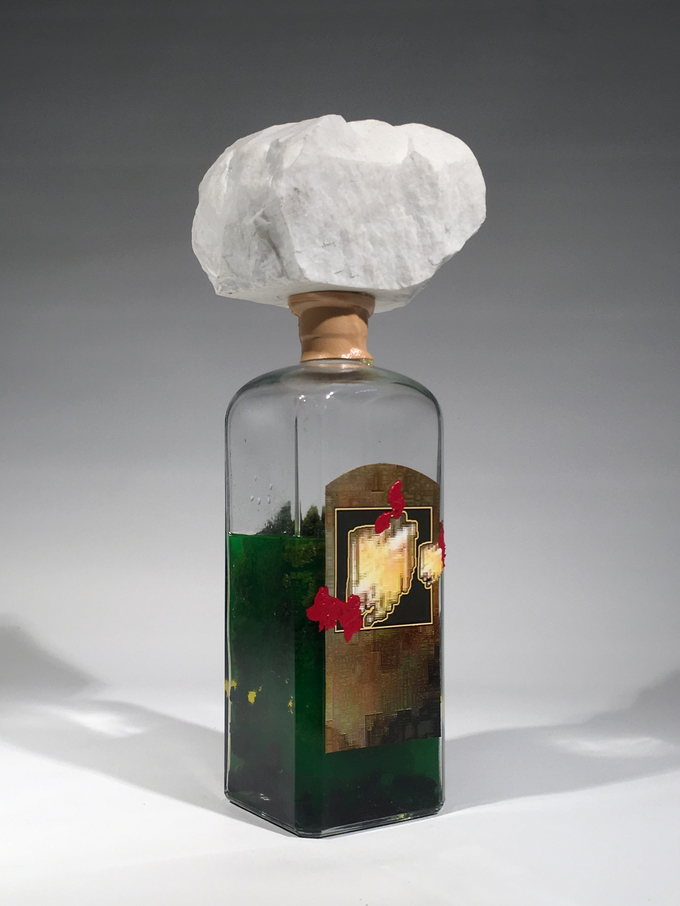 Adam Welch Art - Selected Works Pile (old) Glass, marble, digital print, faux moss, antifreeze, athletic tape,