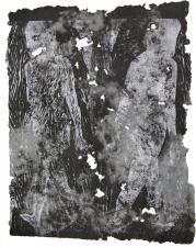 "Adrienne Momi ""Transitions"" Woodcut/handmade paper"
