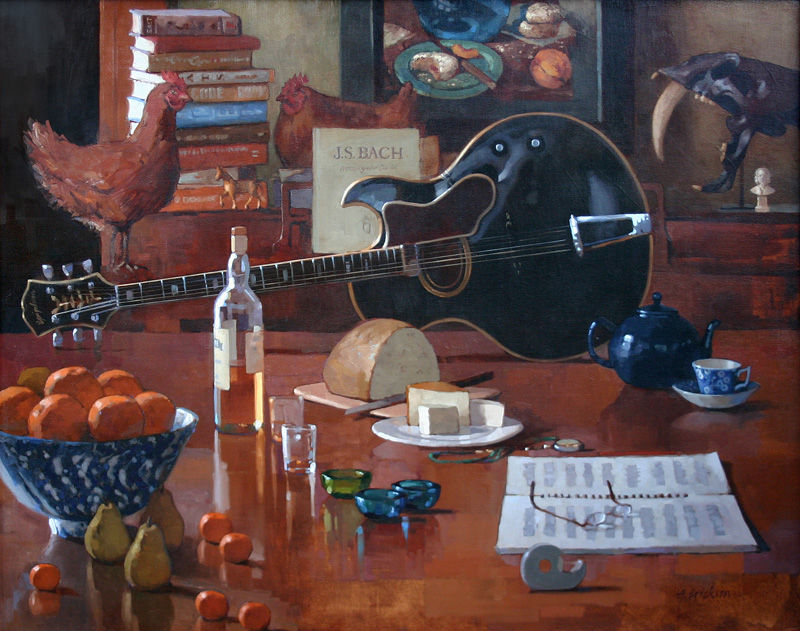Still Life/Interiors Still Life with Guitar and Chickens