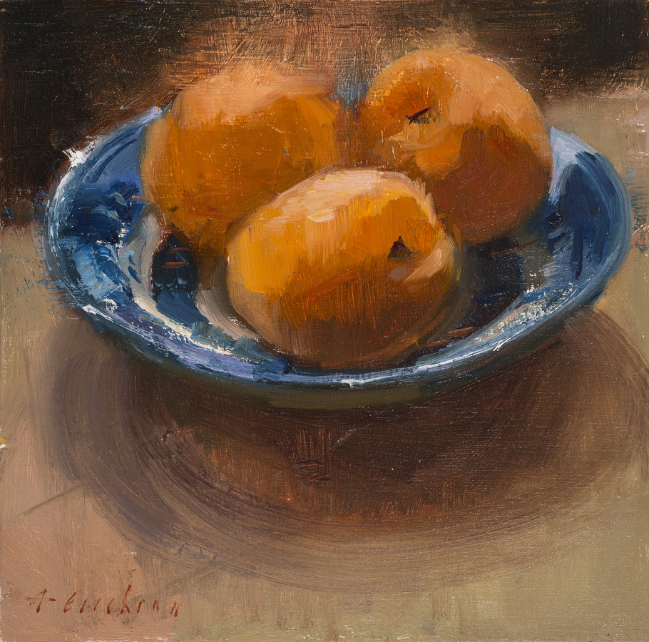 Still Life/Interiors Apricots in a China Blue Bowl