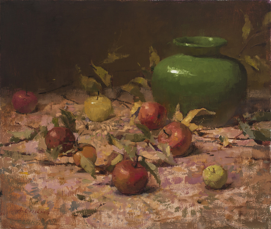 Still Life/Interiors Still Life with Apples and Green Vase
