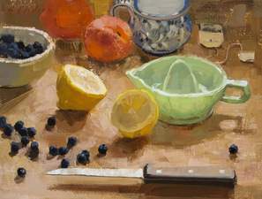Kitchen Still Life with Lemon and Milk-glass Green