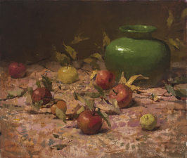 Still Life with Apples and Green Vase