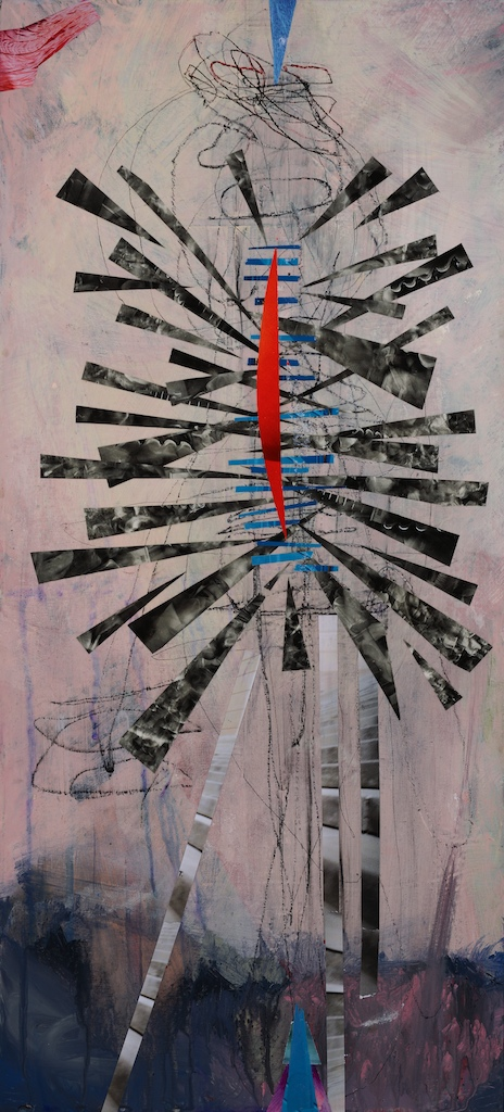 No Hiding 2014 acrylic, pencil and paper on board