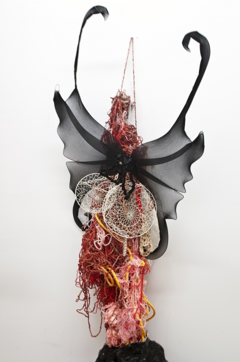 aimee hertog Installation and Sculpture String, rope, wings, wire basket, glue