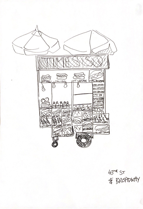 "ALANOUD AHMED ""HALAL"" FOOD CART DRAWINGS, 2016 Drawing on Paper"