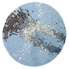 Alexander Viscio Works on glass. 1996-2010 1691 pieces of mirrored glass on a flat piece of  wood.