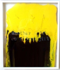 Alexander Viscio Works on glass. 1996-2010 Enamel paint, silicone and glass with wood frame.