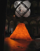 Alexander Viscio Performance/Installations 1999-2006 95 bales of straw, copper, steel cable,   6 dome tents and a chicken.