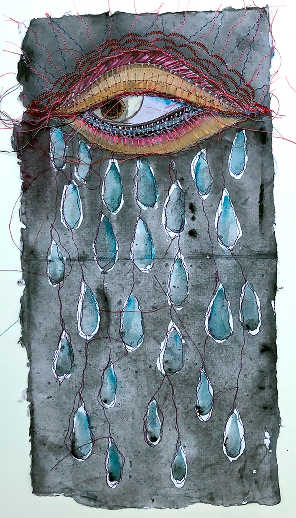 Alexandra Rutsch Brock Thread Paintings Gouache and thread on Indian paper