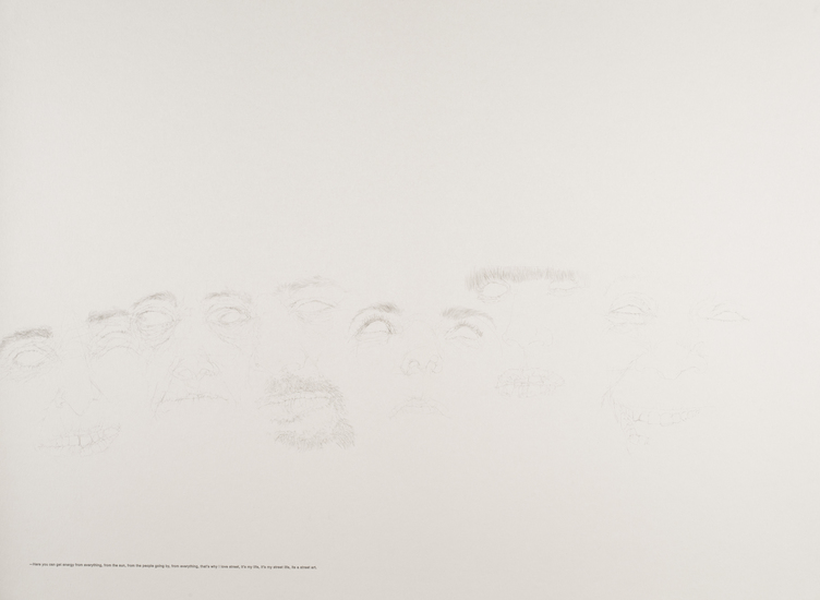 ALEXANDRA DO CARMO  DRAWINGS 2014 for project STUDIO SOCIALIS pencil and printed text on paper